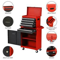 Goplus 2 in 1 Rolling Sturdy Steel Tool Chest 5 Drawers and