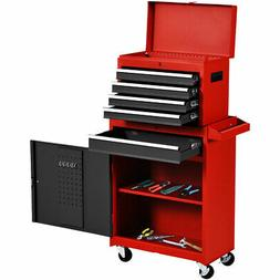 2 in 1 Rolling Tool Box Organizer Tool Chest w/ 5 Sliding Dr