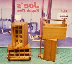 2 STAINED  WOOD TOOL BOXES 1:12 SCALE DOLLS DIORAMA !