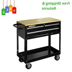 Husky 36 In W 3 Top Solid Drawer Rolling Tool Cart In Gloss