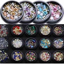 3D Nail Art Rose Rhinestones Jewelry Gems Pearl Decor Glitte
