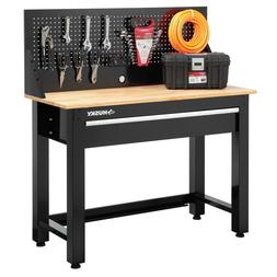 Solid Wood Top Workbench with Pegboard Storage Great for Gar