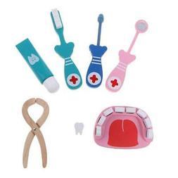 6Pcs Baby Toys Doctor Set Play  Wooden Dental Tools Simulati