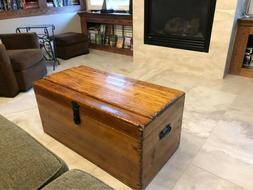 Antique Vintage Primitive Large Wooden Carpenters Tool Box C