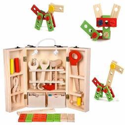 Baby Toys Kids Wooden Multi functional Tool Set Maintenance