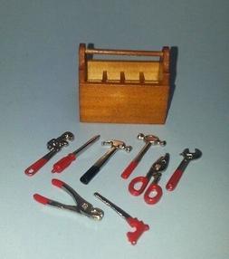 Dollhouse Miniature Wood Tool Box with 8 Tools Workbench Fai