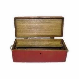 Dollhouse Sir Thomas Thumb Red Wood Carpenters Tool Box w Tr