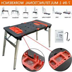 Multifunctional 7-In-1 Folding Workbench Work Table Scaffold