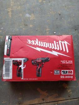 New! Open Box Milwaukee M12 2 Tool Combo Kit w Batteries/Cha