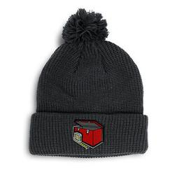 Pom Pom Beanies for Women Construction Red Toolbox Embroider