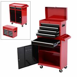 HOMCOM Portable Tool Chest Rolling Toolbox Storage Cabinet C