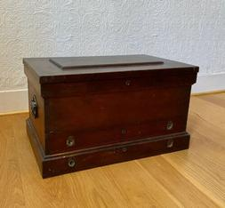 Rare Antique Machinists / Carpenter Wood Tool Box Chest Cabi