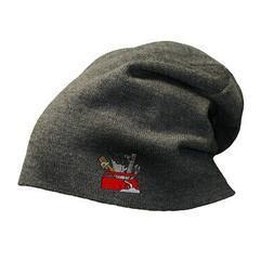 Slouchy Beanie for Men Tool Box Embroidery Winter Hats Cotto