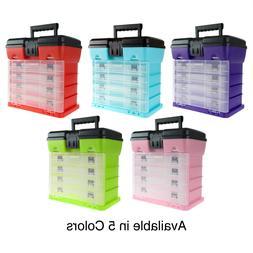 Storage Organizer Tool Box Utility Crafts Hardware 4 Trays F