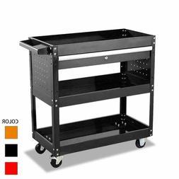 Tool Cart On Wheels with Lock Drawers 3-tier Metal Rolling U