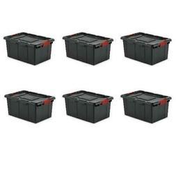 Tote Storage 15 Gallon Container 6 Pack Plastic Box Industri