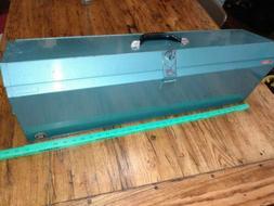 Vintage Waterloo Industrial CarpentersTool Box Teal Saw Leve