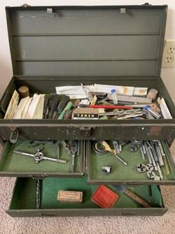 VTG Antique Machinist Chest Toolbox Military Large Lot 100+