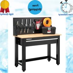 Workbench 4 ft. Solid Wood Top Workbench with Pegboard Stora